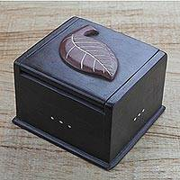 Wood decorative box, 'Nature's Beginnings' - Hand Carved Ghanaian Decorative Wood Box with Leaf Motif