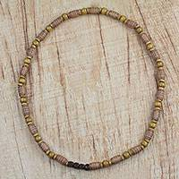 Wood beaded necklace, 'Celestial Mercy' - Handcrafted Sese Wood Recycled Starry Beaded Long Necklace