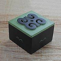 Wood decorative box, 'Adinkra Memories' - Hand Carved Ghanaian Decorative Wood Box with Adinkra Motif