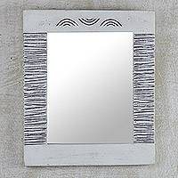 Wood wall mirror, 'Reflections of You' - Handcrafted Wood Wall Mirror from West Africa