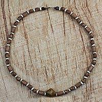 Wood beaded necklace, 'African Queen' - Brown Sese Wood African Queen Recycled Beaded Necklace