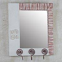 Wood wall mirror, 'Adinkra Reflections' - Adinkra Motif Wood Wall Mirror with Three Accessory Hooks