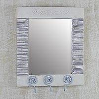 Wood wall mirror, 'Reflections of Tomorrow' - Ghanaian Wood Wall Mirror with Three Accessory Hooks