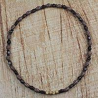 Wood beaded necklace, 'Ghana Beauty' - Brown Hand-Beaded Sese Wood Recycled Long Necklace