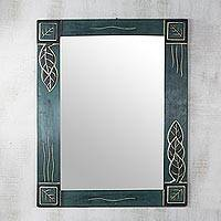 Cedar wood mirror, 'Reflective Leaves' - Hand Carved Cedar Wood Leaves Rectangle Glass Mirror