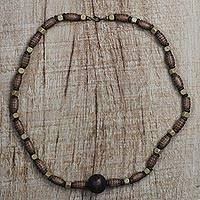 Wood beaded long necklace, 'Gift' - Hand-Beaded Natural Sese Wood Recycled Beaded Necklace