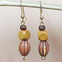 Wood and recycled plastic beaded dangle earrings, 'Odehyie' - Wood and Recycled Plastic Beaded Dangle Earrings from Ghana