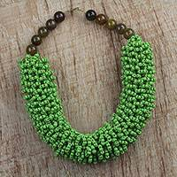 Agate and recycled glass beaded necklace, 'Lush Beauty' - Recycled Glass and Agate Beaded Necklace from Ghana