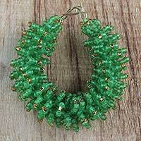 Recycled glass beaded bracelet, 'Bright Delight' - Handcrafted Green Recycled Glass Beaded Bracelet