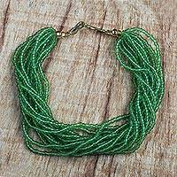 Recycled glass beaded bracelet, 'Vivacious Verdant' - Green Recycled Glass Beaded Bracelet from Ghana