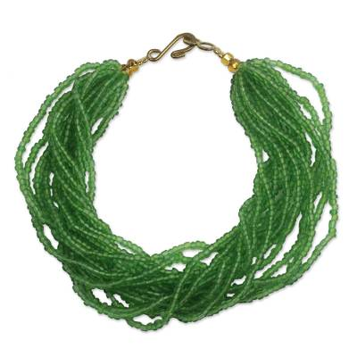 Recycled glass beaded bracelet, 'Vivacious Verdant' - Green Recycled Glass Beaded Bracelet from Ghana