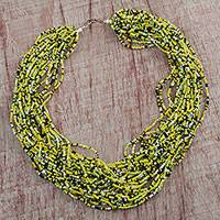 Recycled glass beaded necklace, 'African Paradise' - Handcrafted Recycled Glass Beaded Necklace from Ghana