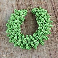 Recycled glass beaded bracelet, 'Kiwi Burst' - Green Recycled Glass Beaded Bracelet from Ghana
