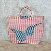 Recycled plastic tote handbag, 'Wondrous Flight' - Orange Butterfly Flight Recycled Plastic Tote Handbag
