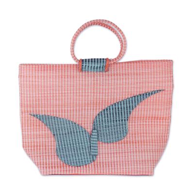 Novica Recycled plastic tote handbag, Wondrous Flight