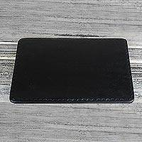 Leather mousepad, 'Elegant Pad in Black' - Handcrafted Black Leather Mousepad from Ghana