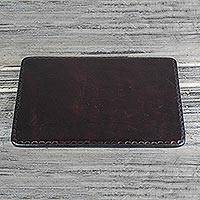 Leather mousepad, 'Elegant Pad in Brown' - Handcrafted Brown Leather Mousepad from Ghana