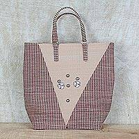 Recycled plastic tote handbag, 'Steel Adornment' - Steel Accented Beige and Brown Recycled Plastic Tote Handbag