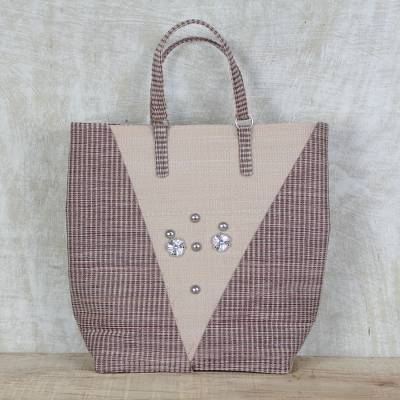 Recycled plastic tote handbag, Steel Adornment