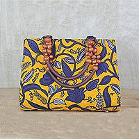 Cotton handle handbag, 'Floral Lady' - Yellow and Blue Floral Cotton Print Beaded Handle Handbag