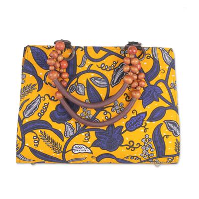 Yellow and Blue Floral Cotton Print Beaded Handle Handbag