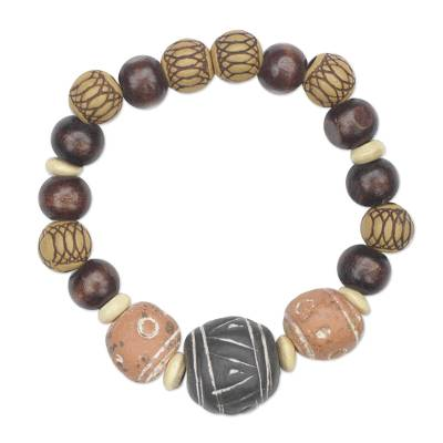 Ceramic and wood beaded stretch bracelet,