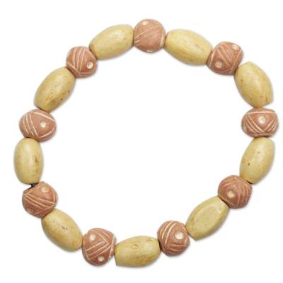 Wood and ceramic beaded stretch bracelet,