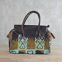Leather accent cotton handle handbag, 'Sky Blue Beauty' - Brown and Sky Blue Leather Accent Cotton Handle Handbag