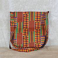 Cotton messenger bag, 'Neon Sensation' - Neon Multi-Colored Striped Cotton Messenger Bag with Pockets