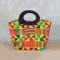 Cotton handle handbag, 'Festive Kente Spirit' - Multi-Colored Kente Cloth Handbag with Ebony Wood Handle