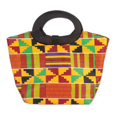 Novica Kente cloth handle handbag, Festive Kente Spirit