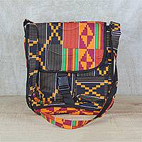 Cotton messenger bag, 'Kente Sensation' - Neon Multi-Colored Striped Kente Messenger Bag with Pockets