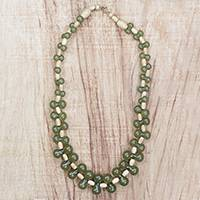Wood and recycled plastic beaded necklace, 'Verdant Bubbles' - Wood and Recycled Plastic Beaded Necklace in Green