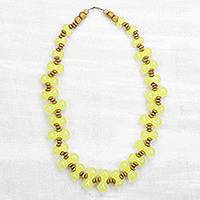 Wood and recycled plastic beaded necklace, 'Yellow Sunrise' - Wood and Recycled Plastic Beaded Necklace in Yellow