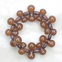 Wood and recycled plastic beaded stretch bracelet, 'Adeshi Brown' - Wood and Recycled Plastic Beaded Stretch Bracelet in Brown