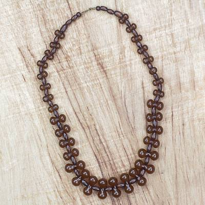 Wood and recycled plastic beaded necklace, 'Adeshi Brown' - Wood and Recycled Plastic Beaded Necklace in Brown