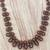 Wood and recycled plastic beaded necklace, 'Adeshi Brown' - Wood and Recycled Plastic Beaded Necklace in Brown (image 2b) thumbail