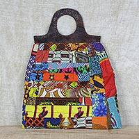 Leather accent cotton handle handbag, 'Patchwork Beauty' - Multi-Colored Cotton Patchwork Handbag with Leather Accents