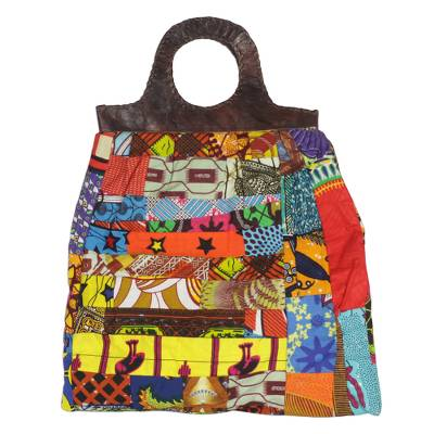 Multi-Colored Cotton Patchwork Handbag with Leather Accents