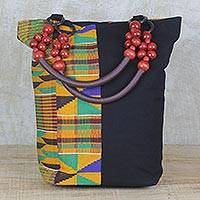 Cotton shoulder bag, 'Market Kente' - Multi-Colored Beaded African Kente Cloth Shoulder Handbag