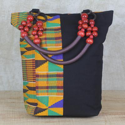 31347fced213 Multi-Colored Beaded African Kente Cloth Shoulder Handbag - Market ...