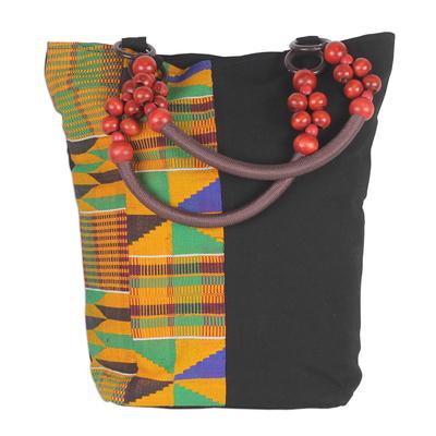 Novica Cotton shoulder bag, Market Kente