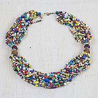 Recycled glass statement necklace, 'Harvest of Colors' - Multi-Colored Recycled Glass and Plastic Statement Necklace
