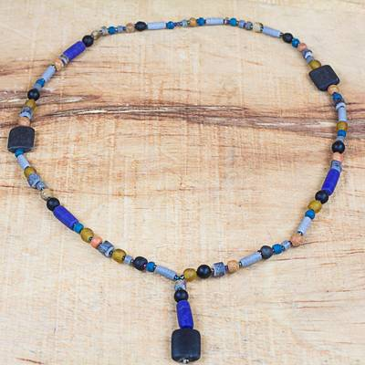 Recycled glass and plastic beaded pendant necklace, 'Authentic Ghana' - Recycled Glass and Plastic Beaded Pendant Necklace