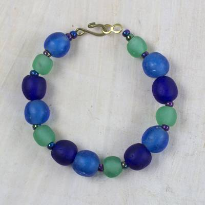 Recycled glass and plastic beaded bracelet, 'Blue Novelty' - Blue Recycled Glass and Plastic Beaded Bracelet from Ghana