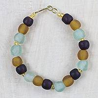 Recycled glass and plastic beaded bracelet, 'Fresh Novelty' - Recycled Glass and Plastic Beaded Bracelet from Ghana