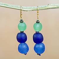 Recycled glass and plastic beaded dangle earrings, 'Blue Novelty' - Recycled Glass and Plastic Beaded Earrings from Ghana
