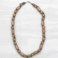 Wood and recycled plastic beaded necklace, 'Beloved Mentor' - Sese Wood and Recycled Plastic Mentor Beaded Necklace