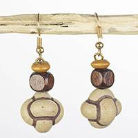 Wood and recycled plastic dangle earrings, 'Natural Life' - Sese Wood and Recycled Plastic Natural Life Dangle Earrings