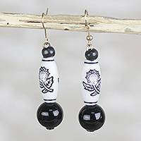 Recycled glass and plastic dangle earrings, 'Blessed Blooms' - Black and White Floral Recycled Glass and Plastic Earrings
